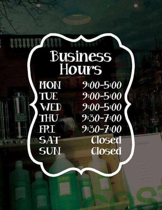 FREE SHIPPING Customized Business Hours Window Decal by DecalChic, $11.50