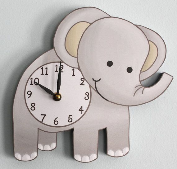 Elephant Wooden WALL CLOCK for Kids Bedroom Baby by ToadAndLily, $45.00