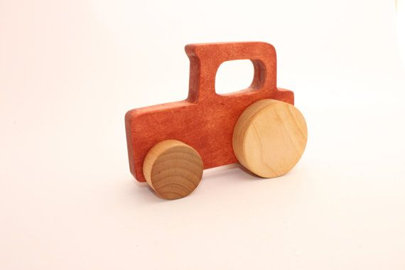 This wooden toy tractor is a wonderful gift for a little boy. The toy is appropriate for children ages 12 months and up. The price is per one toy tractor. This wooden toy tractor measures approximately: 13,5cm / 5,3 inches long 11,5cm / 4,5 inches tall 5,5cm / 2,2 inches wide at wheels