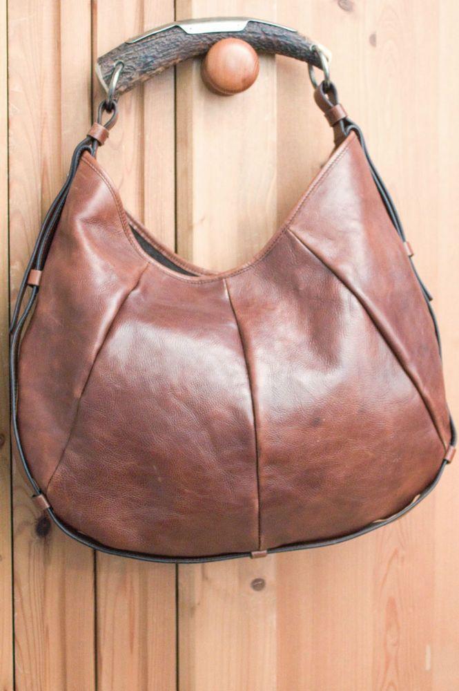 YSL YVES SAINT LAURENT Leather Mombasa Horn Hobo Bag Brown