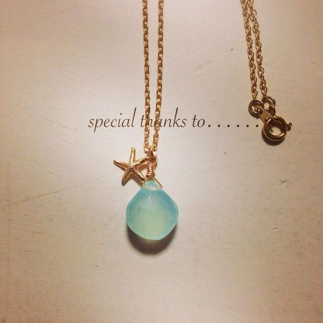 green blue chalcedony × starfish necklace
