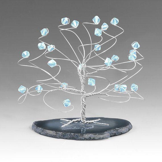 Aquamarijn en zilver maart Birthstone boom sculptuur Swarovski