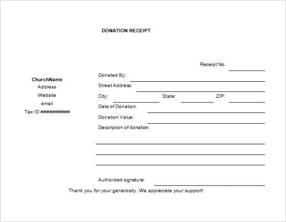 Free Sample Church Donation Receipt Template Templates T