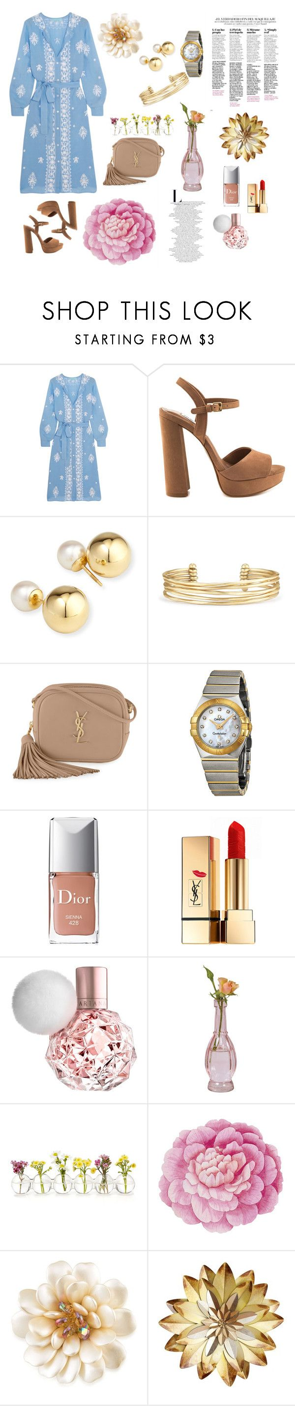 """Eid Outfit"" by hessah-aladwani on Polyvore featuring Melissa Odabash, Steve Madden, Yoko London, Stella & Dot, Yves Saint Laurent, OMEGA, Christian Dior, Ballard Designs and Carolee"