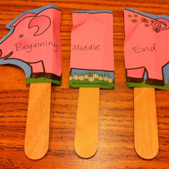 Beginning, Middle, End  Kids hold up the corresponding part of the pig to go with the part of the story you describe.: Beginnings Middle End, Guide Reading Group, Teacher Idea, Language Art, Kids Holding, Pigs, Small Group Reading, Middle Schools Speech Therapy, Popsicle Sticks