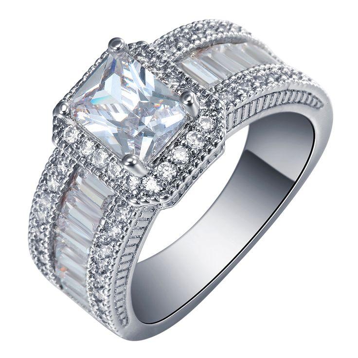 2016 광장 약속 반지 새로운 실버 도금 보석 대형 7 8 9 화이트 큐빅 지르콘 약혼 반지