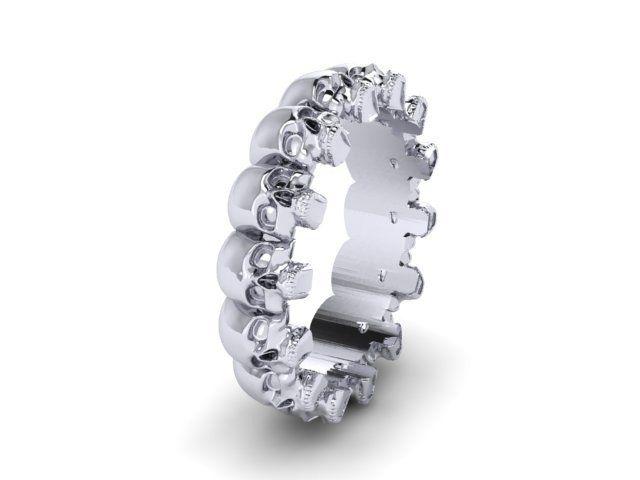 Skull Wedding Band Solid STERLING SILVER UDINC0510