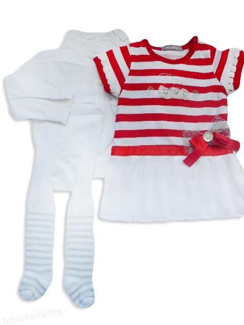 Buna dimineata! Astazi va prezentam compleul pentru fetite ce au varsta intre 6 si 24 luni. Rochita alba cu dungi, camasa alba si dresuri albe cu dungi! Il puteti achizitiona la pretul de 40.00 lei http://goo.gl/C6qnBY