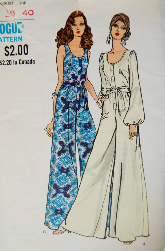 Vintage Catsuit Pattern Vogue Uncut by LiliaRose on Etsy, $15.00..M.Taylor: Possibly jumpsuits (don't like catsuit term) are coming back in style but updated so they hang nicer and don't make you look fatter.