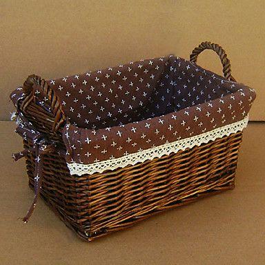 Country Side Coffee Liner Cubóide Handmade cesta de vime de armazenamento com duas alças – BRL R$ 28,87