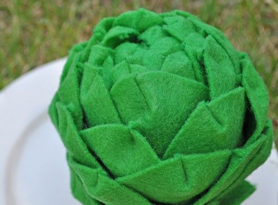 Felt Play Food  California  Artichoke by TheFeltedPear on Etsy, $10.00
