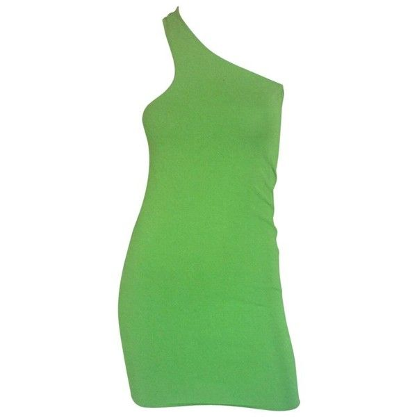 Preowned Gianni Versace Lime Green Body Con Mini Dress ($850) ❤ liked on Polyvore featuring dresses, green, mini dress, short bodycon dresses, bodycon cocktail dresses, lime green dresses, body con dress and one shoulder cocktail dress
