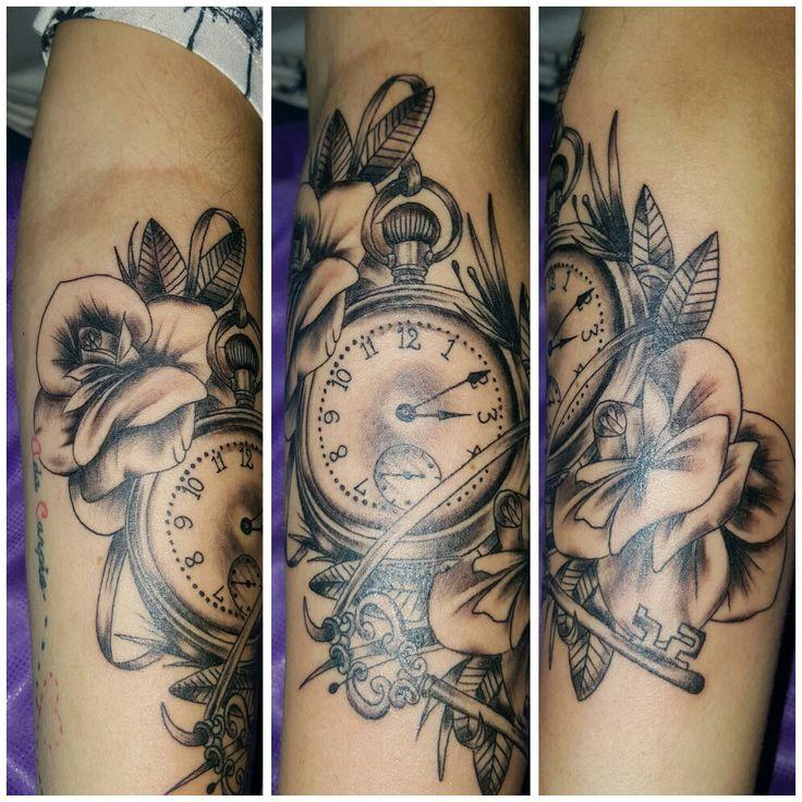 Clock and rose tattoo