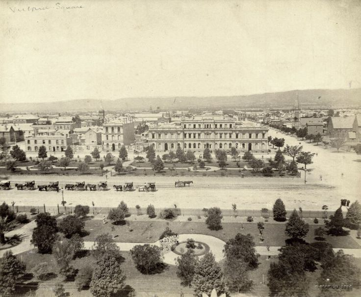 Here is another one from 1880 of Victoria Square. If you find old maps of Adelaide you'd find that Victoria Square was not originally diamond shaped. It was laid out like the other four squares in the city. King William Street went straight through the middle as Grote Street and Wakefield Street met in the middle.