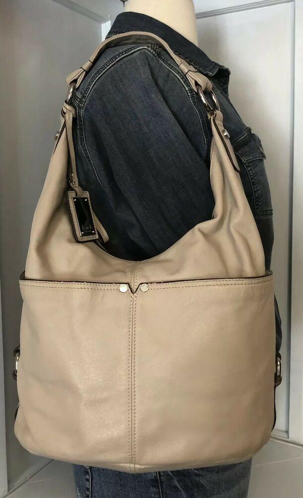Tignanello Medium Ivory Leather Hobo Purse Shoulder Bag Silver Hardware  7d3b0435af82f