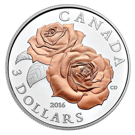 Pure Silver Coin with Selective Rose Gold Plating – Queen Elizabeth Rose (2016)