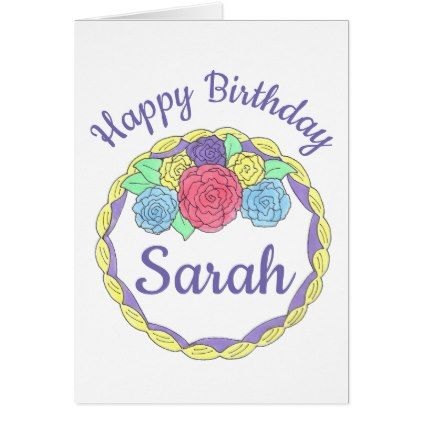 Happy Birthday Personalized Cake Flowers Roses Card - birthday cards invitations party diy personalize customize celebration