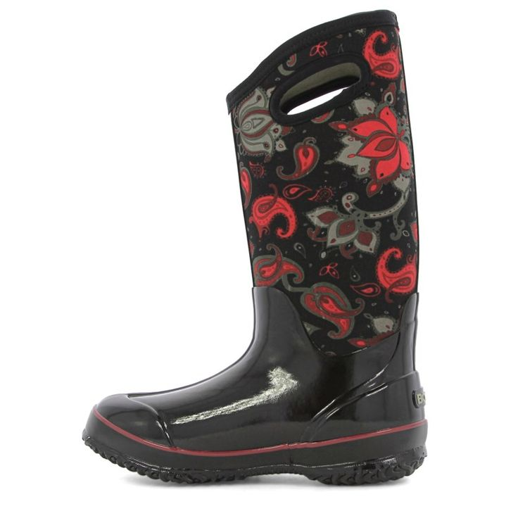 Bogs Women's Classic Paisley Floral Tall Waterproof Winter Boots (Black Multi) - 6.0 M