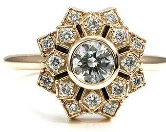 Art Deco anillo de compromiso - Pétalo doble 14k oro amarillo  y diamantes