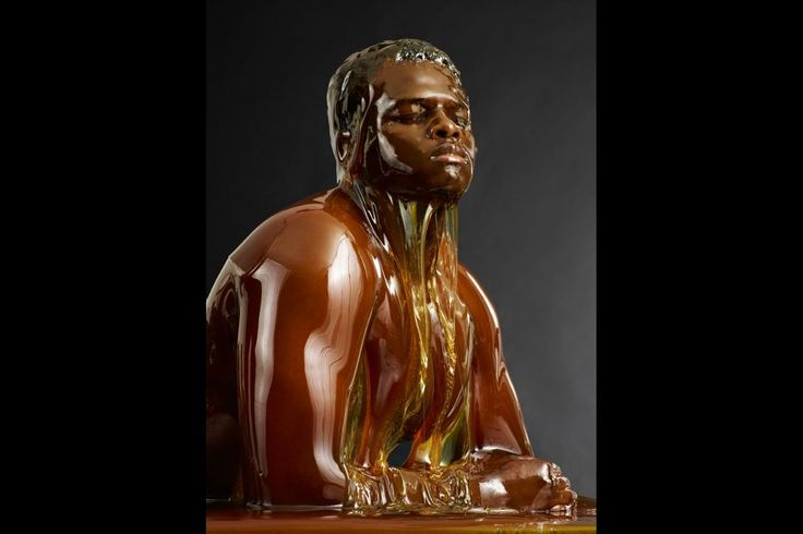 'Preserved' by Blake Little. Series of humans and animals coated in honey.