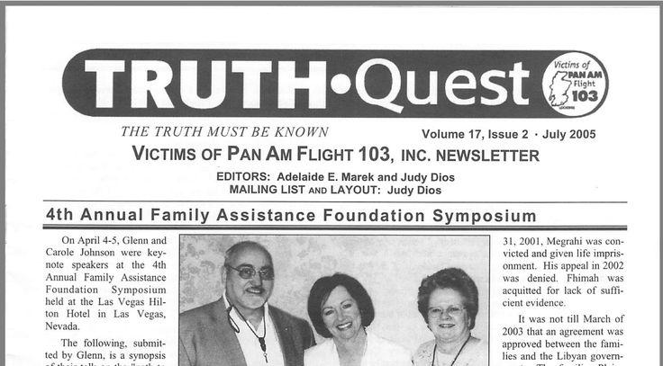 Victims of Pan Am Flight 103 Newsletter.