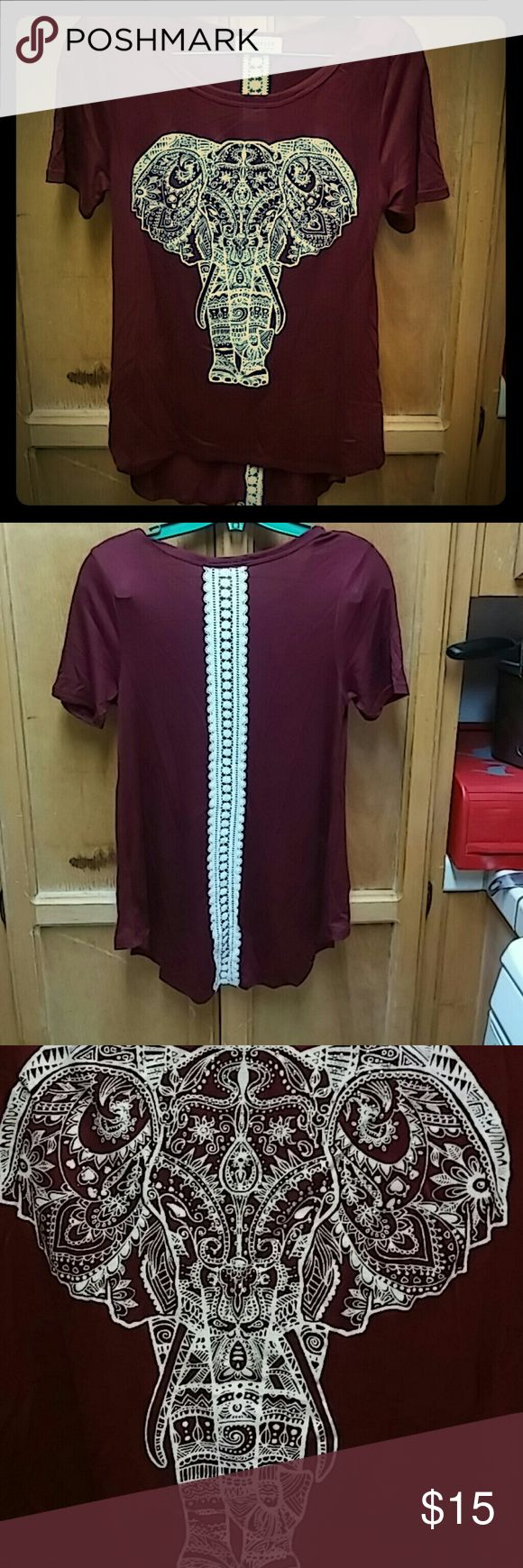 Maroon high low elephant shirt size M Cute shirt with diamonds on the elephant and lace on the back never worn moonchild Tops Blouses