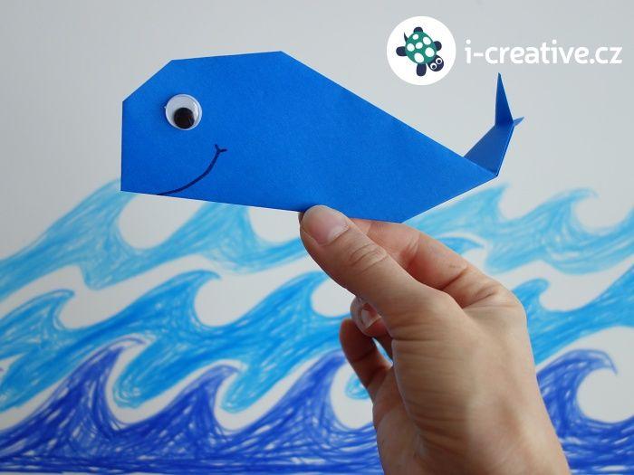 velryba z papíru - origami pro malé děti