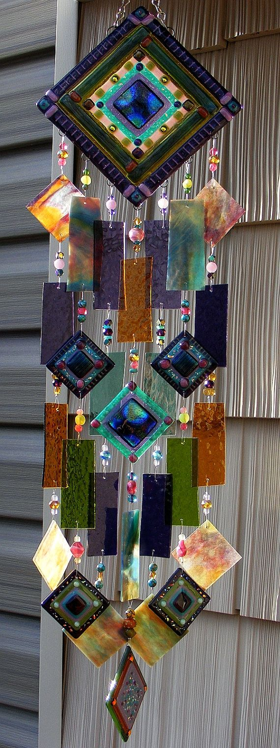 Kirks Glass Art Fused Abstract Stained Glass Wind by kirksglassart