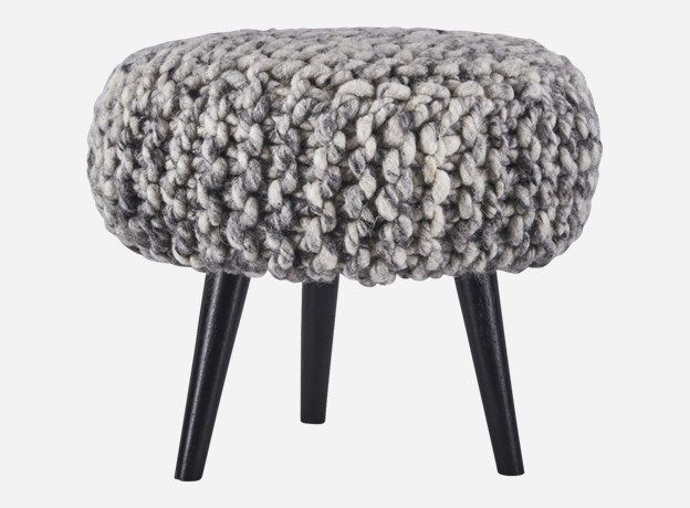 Sy0015 - Puff, Knits, grey/natural, dia.: 40 cm, h.: 35 cm