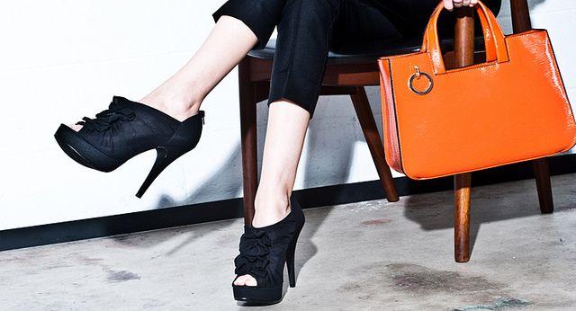 Black peep toe shooties and orange bag | Flickr - Photo Sharing! Kelly Brown bag and Sugar Sugar shoes