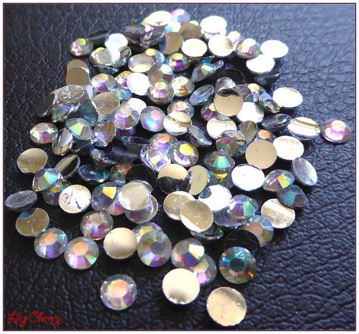 Strass transparent reflet multicolore bulle effet x10 : Cabochons, demi-perles diamond par lilycherry