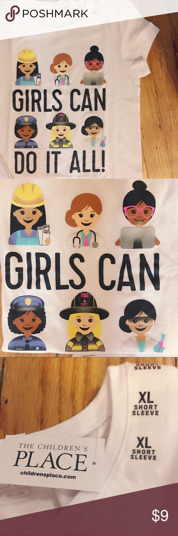 """BNWT """"Girls Can Do It All"""" Tee (Multiple) 2 """"GirlsCan Do It All"""" tees. Inspire confidence in your little lady with this super fun tee shirt modeled after emojis. One L and one XL- Crewneck and short sleeves. Hemline hits around hips. Background is white with images of young girls working as a construction worker, doctor, computer programmer, police woman, firefighter,  & scientist. Original Retail $10.50. BNWT! Asking $9. *Bundle & save- look for more new kids items coming soon.* The…"""