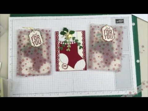 (14) Stampin Up Fun Fold Christmas Stocking Gift Card Holder and Card, With Trim Your Stockings - YouTube