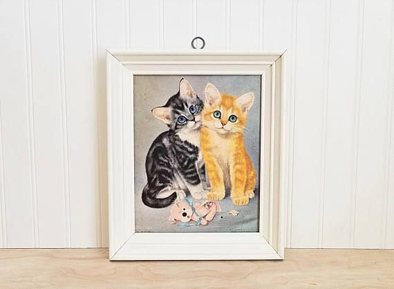 Vintage Framed Kittens Print Girard Cat Big Eyed Cat Kitten