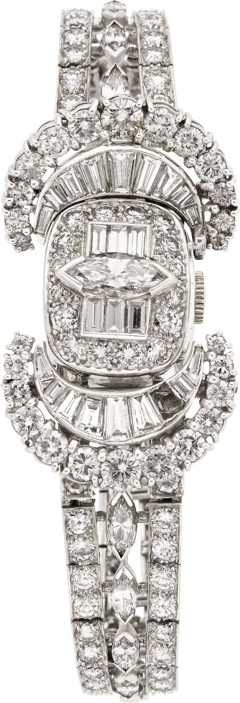 Hamilton Lady's Diamond and Platinum Covered Dial Bracelet Watch♥✤   KeepSmiling   BeStayBeautiful
