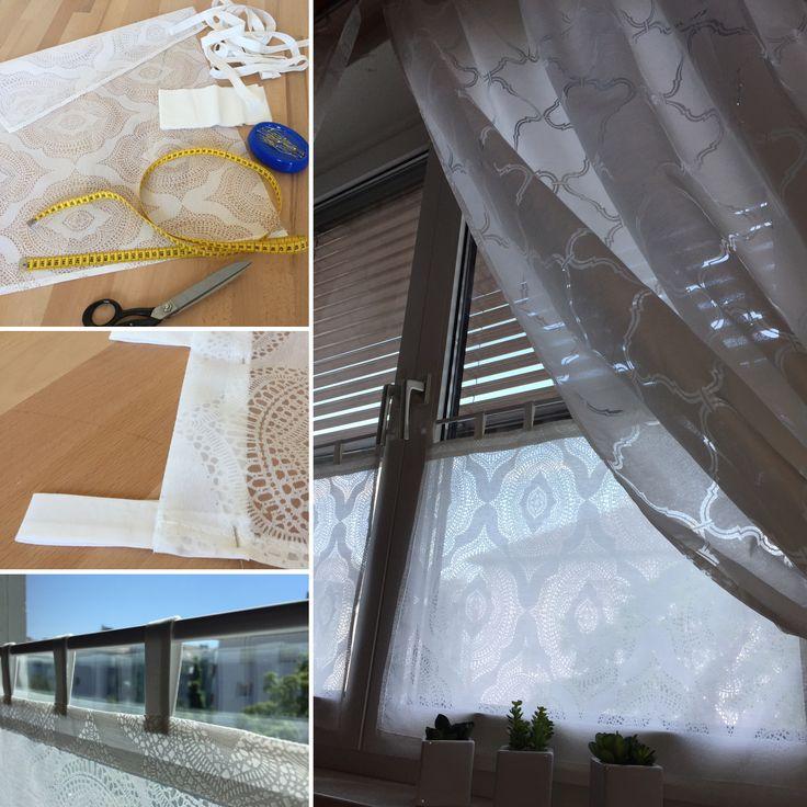 Ein neuer Vorhang mußte sein 😉 die Zutaten waren: ein Vorhangstoff, Reststoff für die Schlaufen ( verstürzt + Besatz), Maßband, Schere, Nadeln + etwas Zeit! et voilà 😄