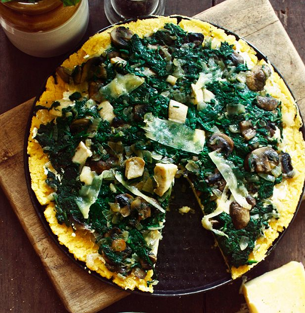 Polenta Pizza with Spinach, Mushrooms and Ricotta