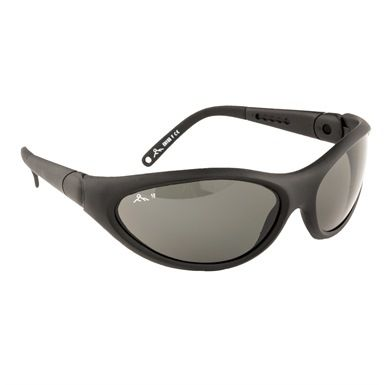 These safety glasses are the Portwest PW18 Umbra Polarised Spectacle, and are designed with 99% UV protection. The lens' are certified to EN166 1F and EN172, with a polarised finish, plus the arms feature anti-slip rubber temples, are adjustable and  extendible for a better fit.