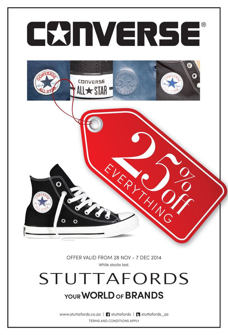 25% off @Converse_Africa Footwear & Apparel til 7 December @Stuttafords_za: Yes please!