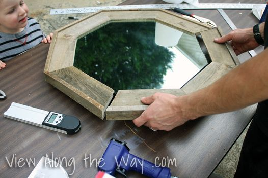 Make an octagon mirror out of old pallet wood.