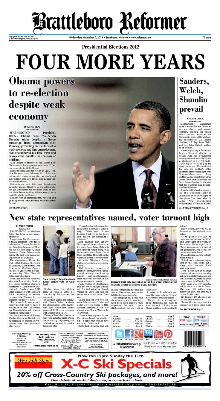 Brattleboro Reformer front page, Nov. 6, 2012 -- Pres. Obama re-elected