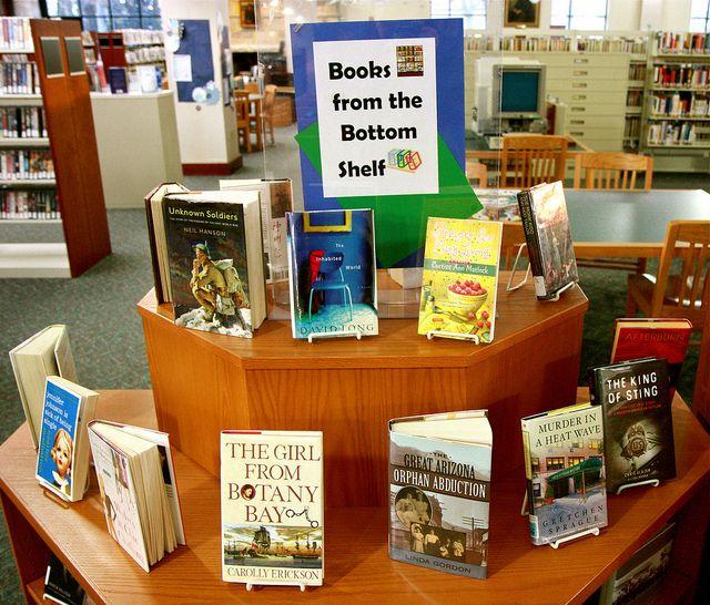 Books from the bottom shelf - good display idea.: Bottoms Shelf, Bottoms Shelves, Gems, Books Display, Books Libraries Ideas, Libraries Display, Display Ideas, Public Libraries, Display Shelves
