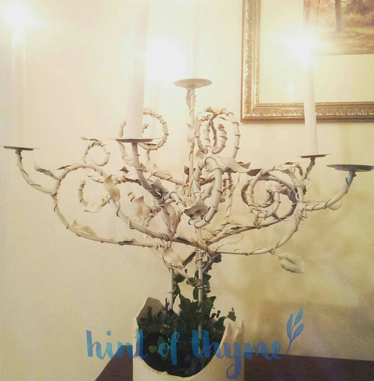A special project, climbing ivy growing over a candelabra. Love love love this!!