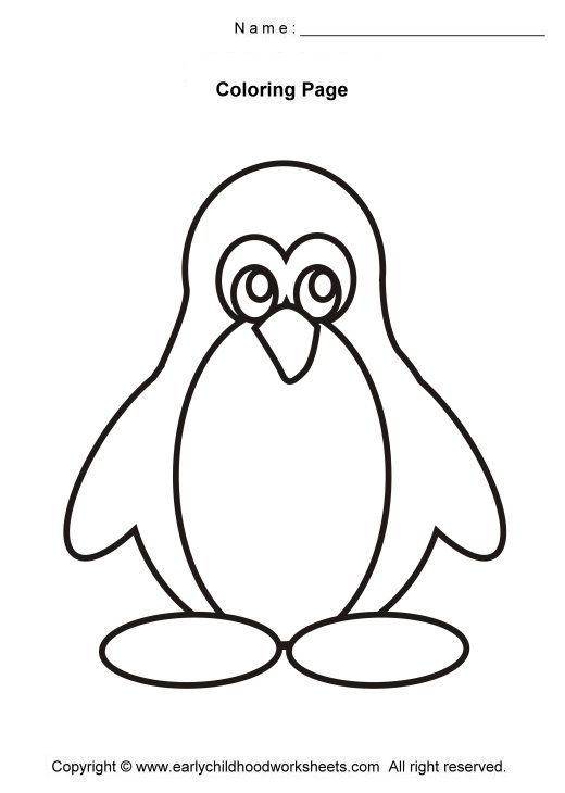 penguin coloring pages | Easy and simple coloring pages for early ...
