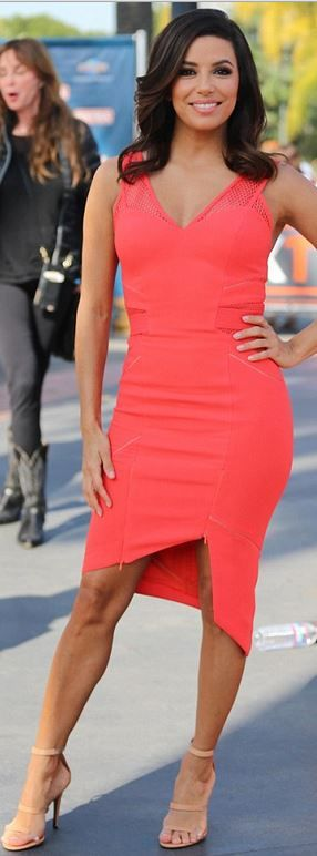 Eva Longoria's pink mesh dress and nude tripe strap sandals fashion id on extra