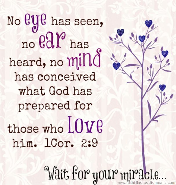 "1 Corinthians 2:9 International Standard Version  But as it is written, ""No eye has seen, no ear has heard, and no mind has imagined the things that God has prepared for those who love him."""