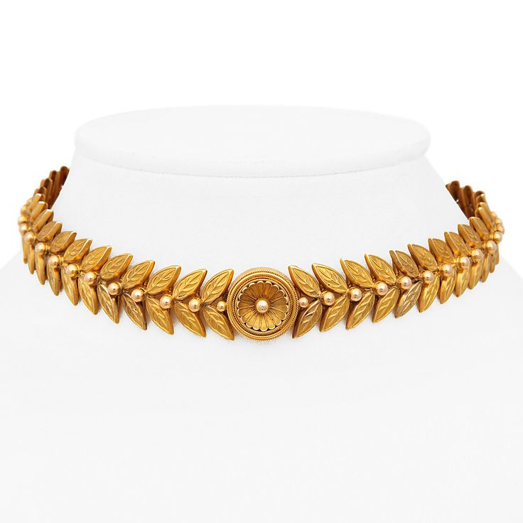 Victorian Roman Revival Gold Choker | From a unique collection of vintage choker necklaces at https://www.1stdibs.com/jewelry/necklaces/choker-necklaces/