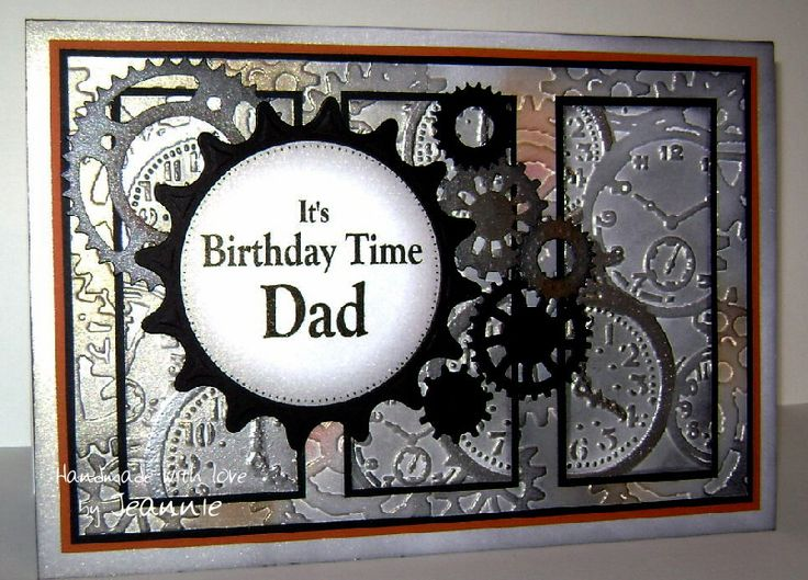 For Dad with Tim Holtz embossing folders and Spellbinders Sprightly Sprockets