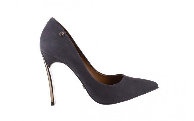 Bayla 067 118706l Ciemnoszare Szpilki Szare Szpilki Bayla Wykonane Z Naturalnej Skory Nubukowej Posiadaja Srebrny Metaliczny Obc Stiletto Stiletto Heels Heels