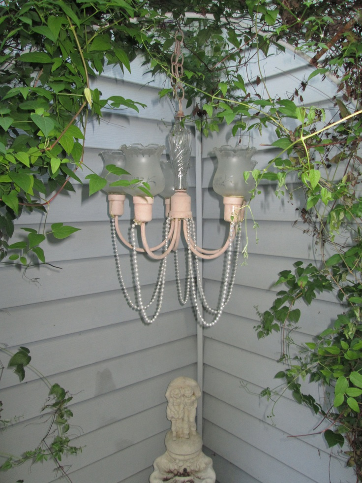 Created This Pink Shabby Chic Repurposed Chandelier For The Garden  Corner... Going To